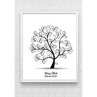 Cuadro de árbol de huellas personalizado para Bodas, Comuniones, Bautizos. Tintas incluidas