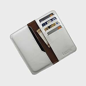 i-KitPit : Genuine Leather Wallet Flip Pouch Case For Nokia Asha 305 (WHITE)
