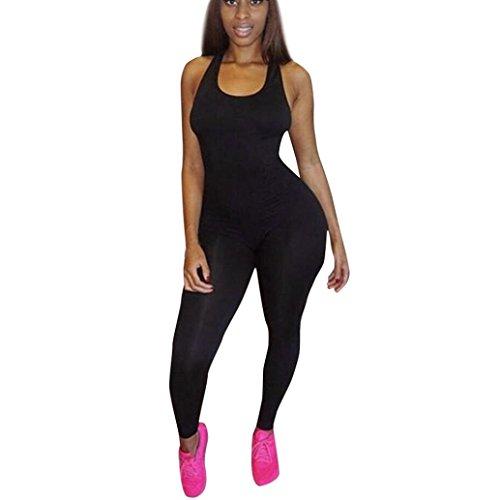 YunYoud Damen Bodysuit Frau Beiläufig Overall Frauen Einfarbig Rompers Slim Fit Bodycon Lange Hose Mode Jumpsuit Ärmellos Playsuits Clubkleidung (XL, Schwarz)