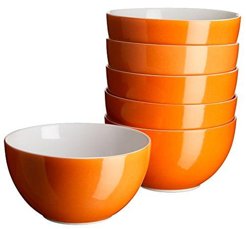 Mäser, Serie Swoon, Müslischüssel 14 cm, im 6er-Set, Porzellan Teller Set in der Trendfarbe ORANGE - Orange Teller Set