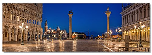 LED hinterleuchtetes XXL Acrylglas Panoramafoto Wandbild, Spätabends auf San Marco Venedig Italien, mit austauschbarem Farbdia Foto Motiv, dimmbaren homogen ausleuchtendem LED Modul