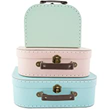 (Pastel Retro) - Set of 3 Suitcase Storage Boxes School Home Decor Sass and