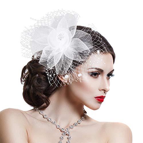 Damen Fascinator Haar Clip Accessoire Masche Bänder Federn Hochzeitskirche Kopfbedeckung Elegant