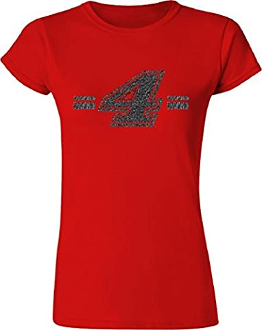 NASCAR Womens Red Glitter Girl Fitted Tee-Kevin Harvick #4-Large by