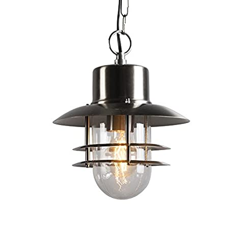 QAZQA Modern Outdoor Hanging Lamp Shell Steel / Nickel Matt / Satin Glass / Stainless steel / Round Suitable for LED E27 Max. 1 x