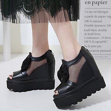 LvYuan Damen-Sandalen-Lässig-PU-Keilabsatz-Andere-Schwarz Black