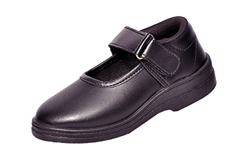 Lakhani Black School Shoes for Girls with Velcro