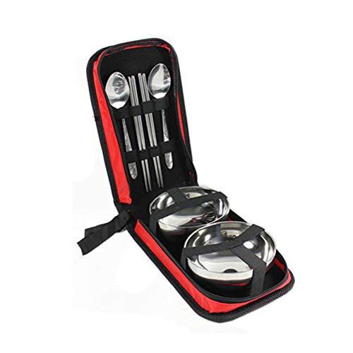 BESTONZON 7 Teile/Satz Camp küchenutensilien Organizer Reise Set tragbare Essen kit außenspeicher besteck besteck Fall (zufällige Farbe)