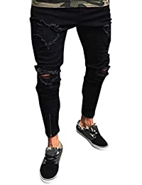 LuckyGirls Pantalones Vaqueros Hombres Rotos Pitillo Originales Slim Fit  Skinny Pantalones Casuales Elasticos Agujero Pantalón Personalidad b8ff39a47f837