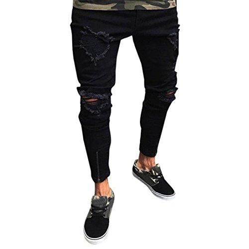 Trada_uomo jeans/colore puro jeans/strappati jeans da uomo comfort gamba dritta pantalone da fit elasticizzati da denim skinny slim stretch jeans/skinny pants jeans strappati (s, nero)