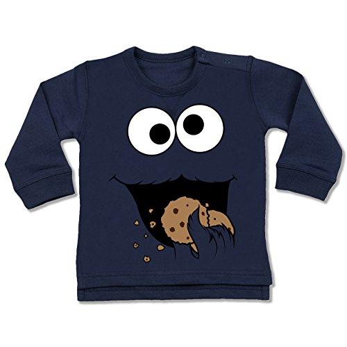 Shirtracer Karneval und Fasching Baby - Keks-Monster - 12-18 Monate - Navy Blau - BZ31 - Baby Pullover