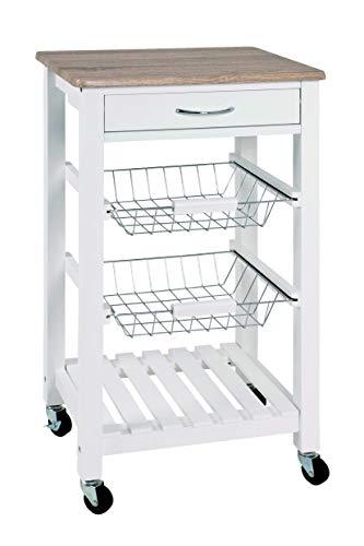 Haku-Möbel Küchenwagen, weiß-Eiche hell, 47 x 37 x 84