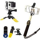 ASHUTB - Kit S6-YL - Kit Selfie pour Smartphone - 10 accessoires photos - Noir/Jaune