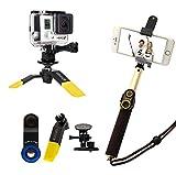 ASHUTB ASHUTB-S6-il-Kit-Soporte para Smartphone 10 accesorios de fotos, color negro y amarillo