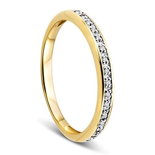 Orovi Damen-Ring Memoire Hochzeitsring Gelbgold 9 Karat (375) Brillanten 0.05 ct Verlobungsring Diamantring (Saphir-gold-ring)