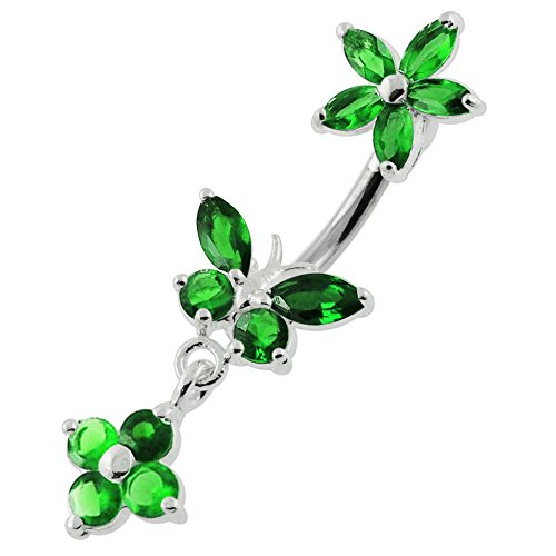 Dunkel grün CZ Stein Schmetterling mit Blume 925 Sterling Silber beidseitig Bauch Bar Piercing baumelt