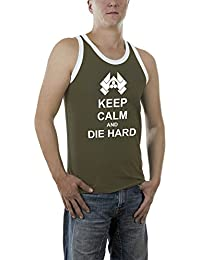 Touchlines Herren Top Keep Calm and Die Hard Kontrast