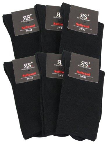 6 Paar RS Herrensocken, Venenfreundlich ohne Gummi, Größe 43-46, schwarz