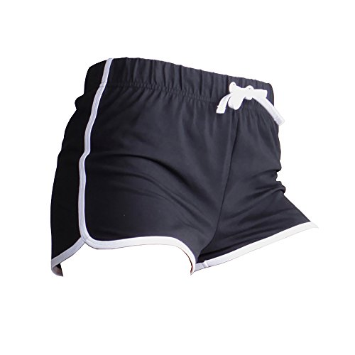 Skinni Fit Damen Sport-Shorts / Retro-Shorts (Medium) (Schwarz/Weiß) - Shorts Frauen Booty