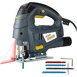 Scie Sauteuse, Ginour 800W Guide Laser, 7 Vitesse Variable, 3000 RPM, Angle Max 45°,3 lames, une Sortie de Poussière, Scie Sauteuse Electrique pour Couper Bois, Métal (2)