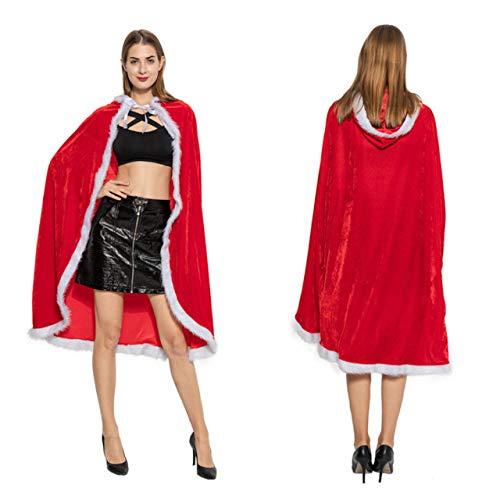Weißes Cape Kostüm Fell - YUY Weihnachten Umhang Rot Kapuzen Fell Cape Weihnachtsfrau Festlich Cosplay Kostüm Santa Kapuzenmantel Weihnachtskostüm,S