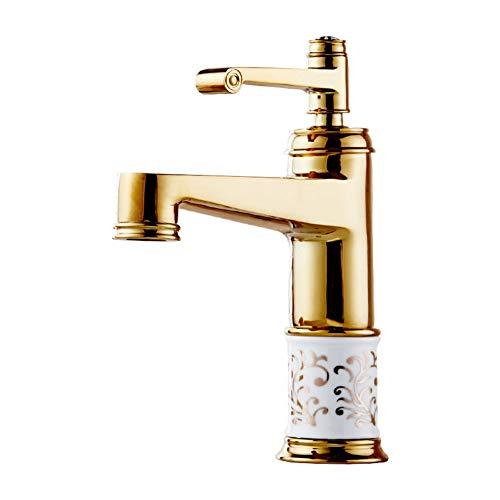 YHSGY Waschtischarmaturen Kupfer Überzogene Bad Becken Wasserhahn Neues Bad Arbeitsplatte Becken Muster Keramik Serie Wasserhahn
