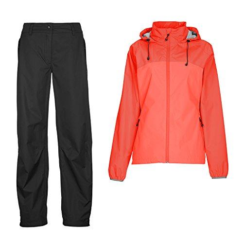 Killtec Damen Regenset Rot/Schwarz Gr. 50 Funktionsjacke + Funktionshose Wasserdicht Winddicht Outdoorbekleidung