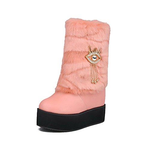 AllhqFashion Damen Rund Zehe Niedrig-Spitze Hoher Absatz Rein Weiches Material Stiefel, Pink, 42