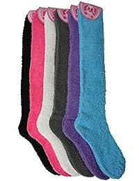 Sassy Pippi Women's 6 Pair Pack Long Fluffy Winter Socks Soft Socks Bed Socks