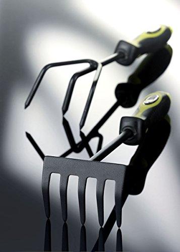 Xclou Kleinrechen in Schwarz, Blumenrechen formgerechter Handgriff aus TPE, Gartenwerkzeug 5 Zinken, pulverbeschichteter Hand-Kultivator, Blumenharke Anthrazit-Grau