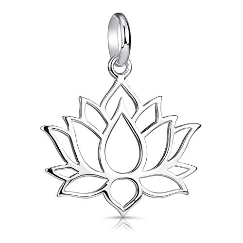 MATERIA Lotusblüte Anhänger Silber 925 - Lotus Schmuck Modeschmuck nickelfrei Damen Mädchen mit Etui KA-69_ohne Kette