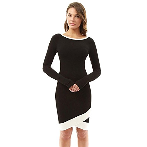 OVERDOSE Damen Bannfarbe Kleid Damen Langarm Minikleid Büro Kleid Business Kleid Ostern Partei-Kleid (Business Cat Kostüm)