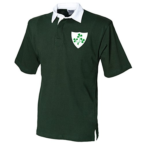 Herren Vintage Bestickt Irische Wappen kurz Sleeve Irish Rugby Shirt aus Print Me A Shirt in Flasche Grün/Weiß Gr. Large, Bottle-Green-and-White