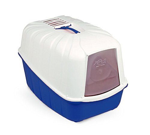 Toilette accessoriata MPS Komoda - Lettiera coperta, completa di porta basculante, paletta e filtro al carbone (Azzurro)