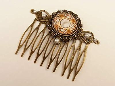 Peigne à cheveux avec motif de perles, peigne à cheveux antique