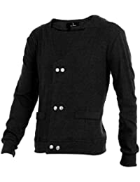 Sourcingmap Men Long Sleeves Double Breasted Buttoned Cardigan
