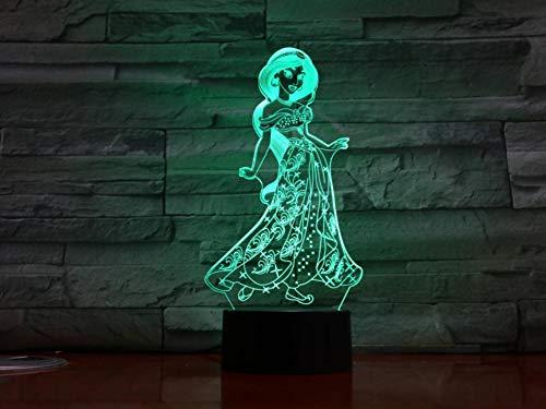 3D Nachtlicht Prinzessin Jasmin Led Nachtlicht 3D Illusion 7 Farbe Touch Sensor Raumdekoration...