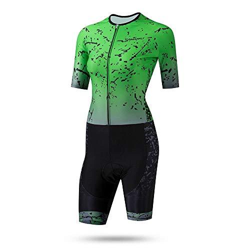 Be82aene Sommer Outdoor-Sportarten Laufen Kurzarm atmungsaktive Jacke Jersey Damen Skating Anzug Fitness Outdoor Reitbekleidung (Color : Green, Size : XXXL) (Green Körper Anzug)