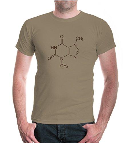 buXsbaum® Herren Unisex Kurzarm T-Shirt bedruckt Strukturformel Schokolade | Chemische Formel Schoko | L khaki-brown Beige (Khaki Schokolade)