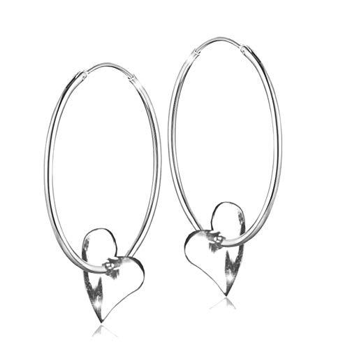 PAPOLY ARO Ohrringe aus 925 Silber Gesetz mit Herz Detail in Durchmesser 25,30,35,40,45,50mm, in sechs verschiedenen Größen für Ihren Geschmack, A.Heart (35mm)