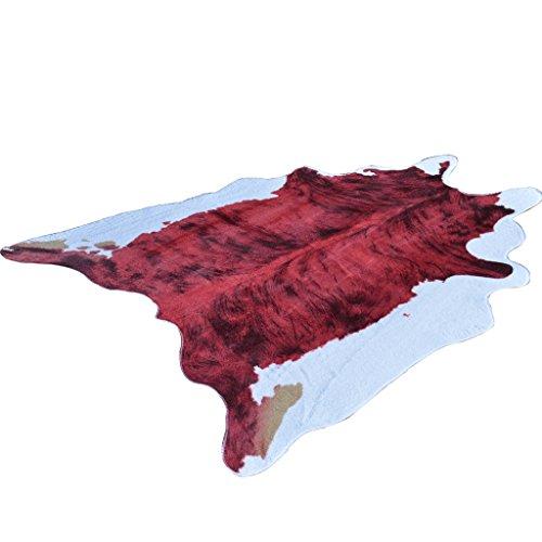Teppiche USA Irregular Teppich Zebra Teppich Schlafzimmer Wohnzimmer Teppich Northern Europe Alien Simulation Ganzes Leder Dünne Bodenmatte Waschbar ( Color : Red , Size : 140*200 cm/55*79 inch )