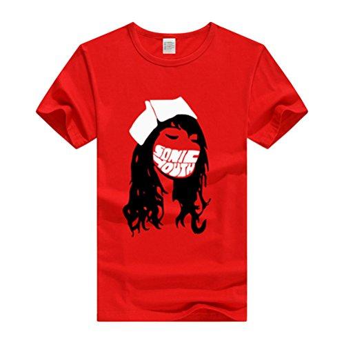 AILIENT Herren Casual Sonic Youth T-Shirt Rundhals Kurzarm Große Größen Tops Bedrucktes T-Shirt Lose Blusen Stilvoll (Youth Shirt T-shirt)