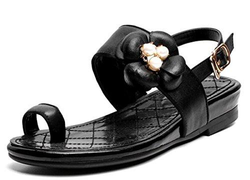 Beauqueen OL Sandali Slip & Flop Respirabili Flip & Flop Slingbacks classici Slip in pelle Fibbia Punta aperta Sandali della sorella delle donne di nozze Taglia UE 34-39 Black