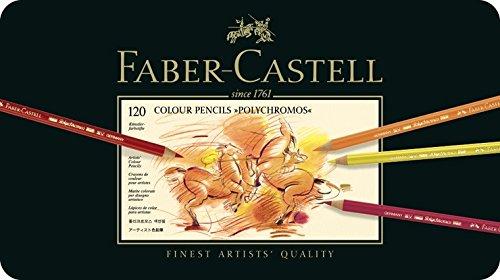 Faber-Castell 110011–Artistas de Set de, Polychromos 120ER estuche de metal con accesorios