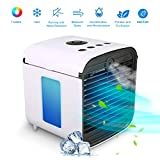 Personal Space Cooler, Portbal Air Conditioner, 4-in-1 USB Portable Mini Air Cooler,Humidifying USB Fan,Purifier,Aromatherapy, Chilly Air Evaporative Desk Fan With 7 Color Night Light for Home, Office