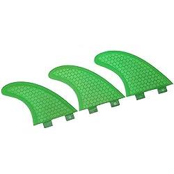 VGEBY Ailerons de Surf, 3 PCS en Fibre de Verre Verte Aileron de Planche de Surf en Fibre de Verre pour Planches de Surf, paddleboards, Planches de Kitesurf(G7)