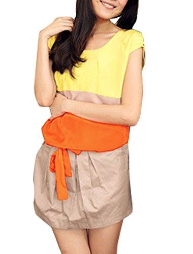 Femme Mancheron Poches à Rayures Jaune Robe XS avec Sangle De Taille Orange
