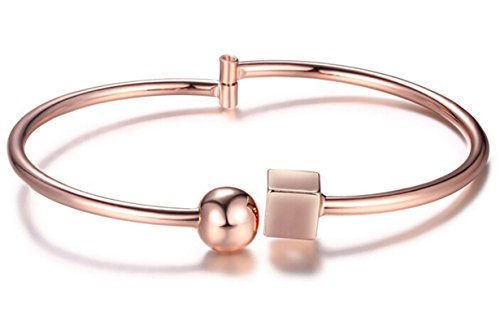 Epinki Damen Armband Vergoldet Würfel Kugel Freundschafts Armreif Rose Gold 22CM (Damen-armband Cartier)