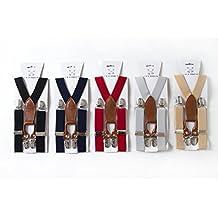 KK-rabbit - Tirantes elásticos ajustables de clip para niños (diseño en X, perfectos con pajarita, varios colores)