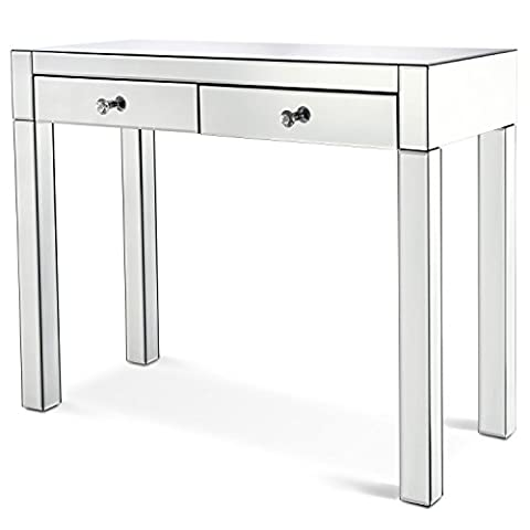 Miusco Console Table, Glass Mirrored Console Table with Two-Drawers Hall Table